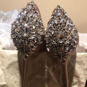 Badgley Mishka kiara peep toe embellished shoe